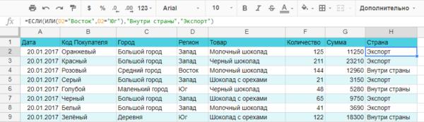 совместное использование функций ЕСЛИ и ИЛИ