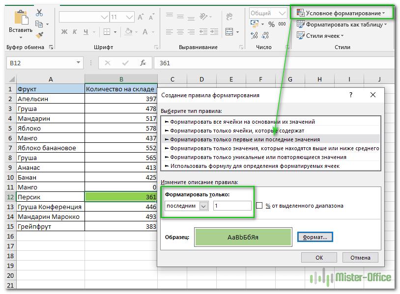 выделить наименьшее число с условным форматированием