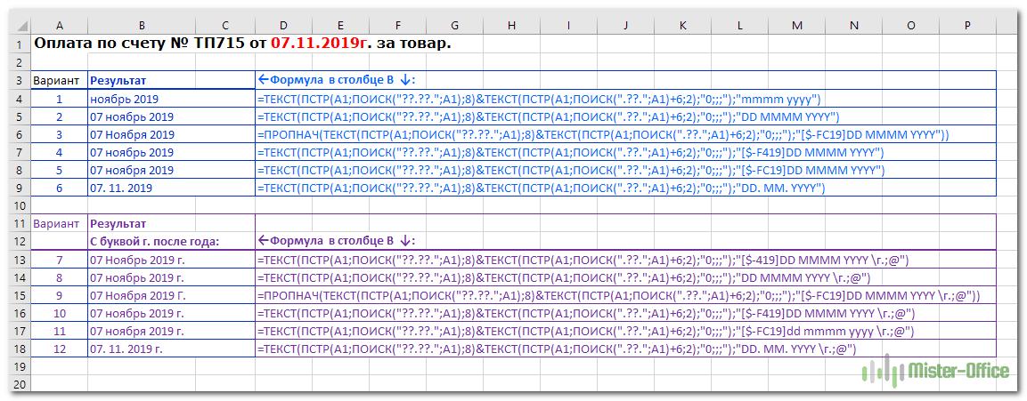 определяем формат вывода даты при помощи функции ТЕКСТ