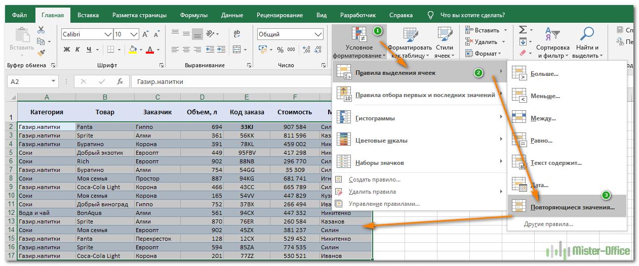 Excel выделить цветом повторяющиеся значения в excel